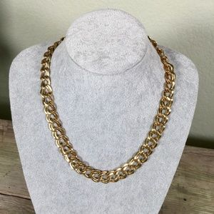 vintage chunky gold-tone double curb link chain 21